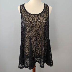 Beach Cover, Sheer Top, Black Paisley Lace…